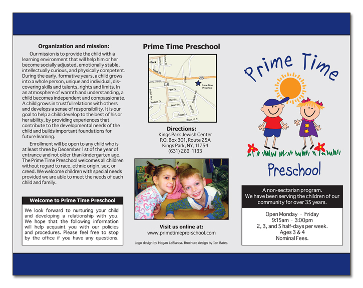 Prime time preschool brochure ibates designs for Preschool brochure template